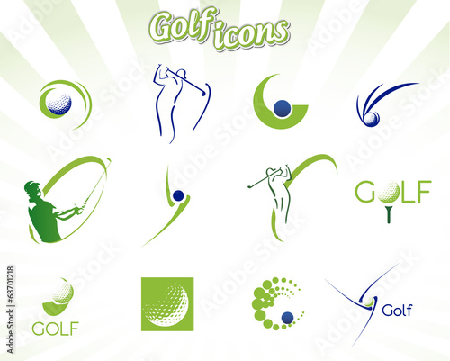 Fototapeta Collection of golf icons isolated on white, vector illustration
