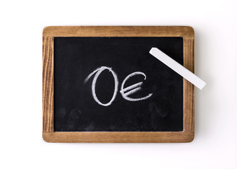 """Value """"0€"""" written on a slate"""
