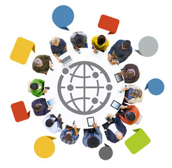 Multi-Ethnic People Using Digital Devices