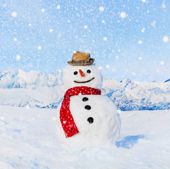 Real Snowman Outdoors In White Scenery