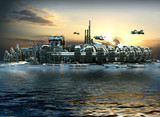 Fototapety Science fiction city with metallic ring structures on water