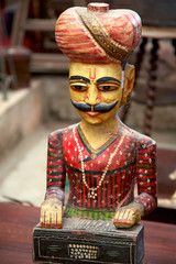Wooden vintage statue from Rajasthan in India