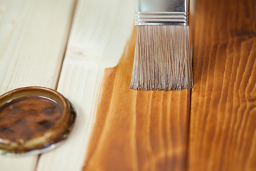 Painting wooden boards