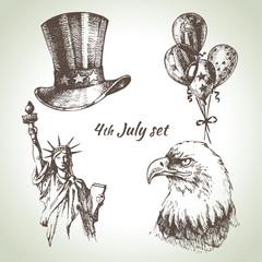 4th of July set. Hand drawn illustrations