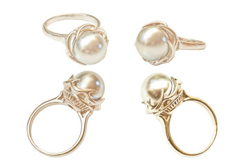 Pearl rings isolated on white