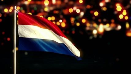 Netherland National Flag City Light Night Bokeh Loop Animation