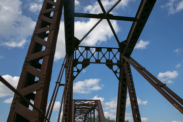 An Old Truss Bridge Looking up to the Sky