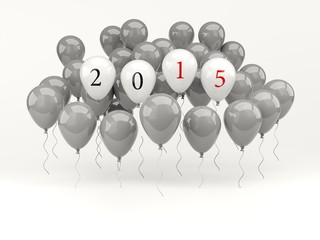 White air balloons with 2015 New Year sign