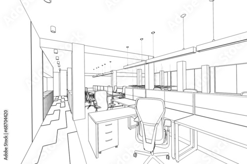 outline sketch of a interior office area
