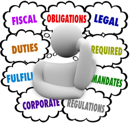 Obligations Thinker Thought Clouds Fiscal Financial Legal Duties