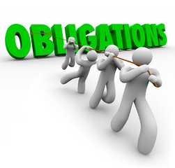 Obligations Word Pulled Up by Team Workers Together