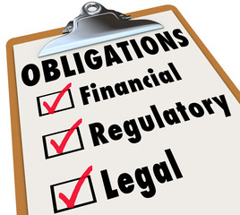 Obligations Checklist Check Mark Boxes Legal Regulatory Financia