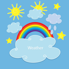 Vector drawing of a rainbow, sun and clouds