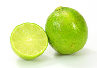 Citrus lime fruit on white background