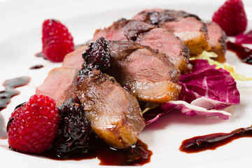 Duck with raspberry