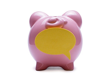 Piggy bank with a blank speech bubble