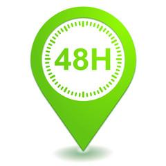 48 heures sur symbole localisation vert