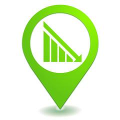 en baisse sur symbole localisation vert