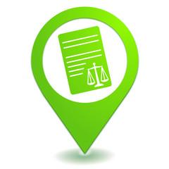 informations légales sur symbole localisation vert