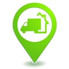 livraison à domicile sur symbole localisation vert