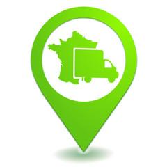 livraison en France sur symbole localisation vert