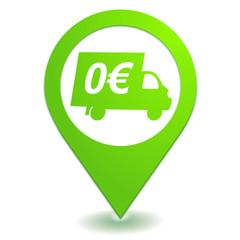 livraison offerte sur symbole localisation vert
