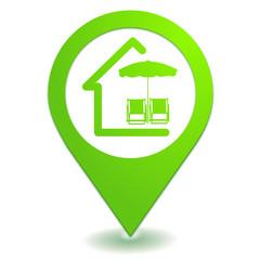 location de vacances sur symbole localisation vert