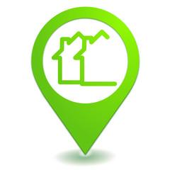 lotissement immobilier sur symbole localisation vert