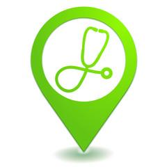 médecin sur symbole localisation vert