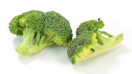Fresh broccoli in closeup on white