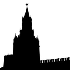 Moscow, Russia, Kremlin Spasskaya Tower with clock, silhouette,