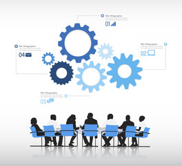Vector of business people with infographic