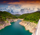 Dramatic summer landscape with the river in the mountains.