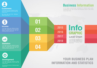Business bar level step chart infographic. Business report creat