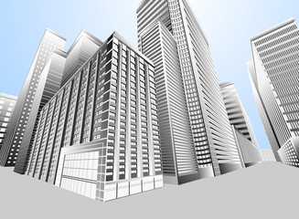 Townscape urban city,architecture scene background