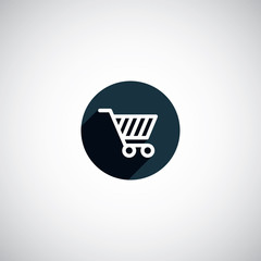 flat round shopping cart icon.