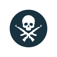 Skull with rifles icon.