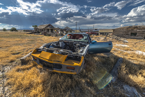 canvas print picture Abandoned Car Ghost Town