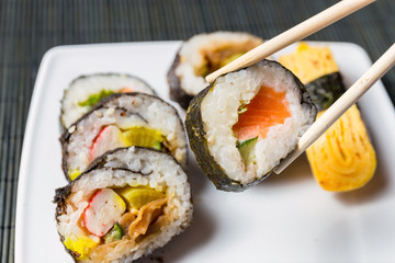 Close up of sushi, Japanese seafood