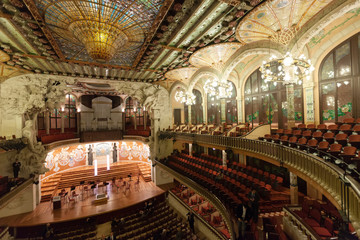 nterior of Palace of Catalan Music in Barcelona