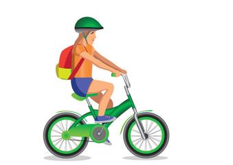 girl goes to school on bicycle