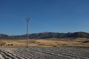 poteau électrique, ciel bleu, campagne