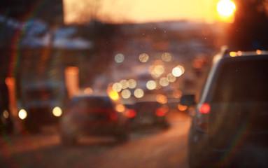 road in winter night, traffic jams, snow city