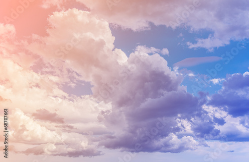 White clouds with blue sky background. Color toned image. - 68707661