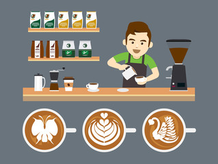 Barista Pouring Latte Art, Vector illustration