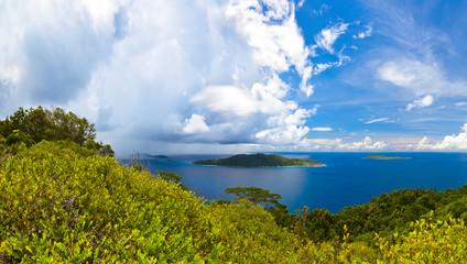 Island in ocean at Seychelles