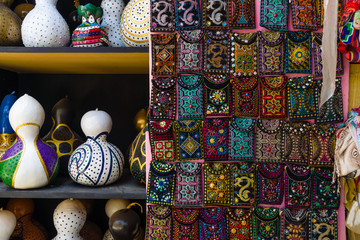 Traditional national embroidery and lanterns from pumpkins