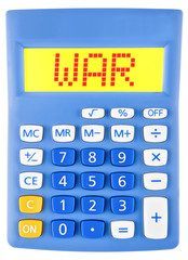 Calculator with WAR on display on white background