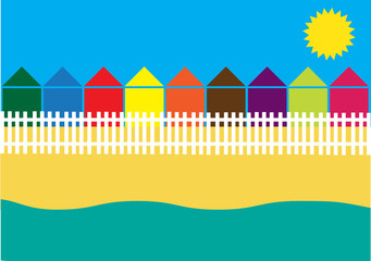 holiday design with cottages on the beach