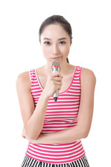 Asian girl take a microphone